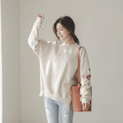 JUSTONE - Dip-Back Flower-Embroidered Sweatshirt