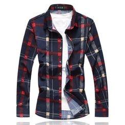 Peibo - Long-Sleeve Plaid Shirt