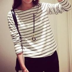 Cloud Nine - 3/4-Sleeve Striped T-Shirt