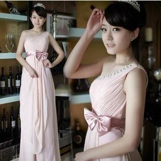 Fantasy Bride - One-Shoulder Bow-Accent A-Line Evening Gown