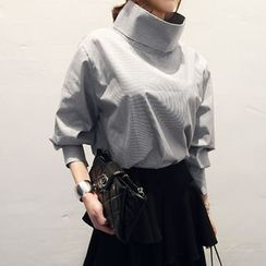 NANING9 - Funnel Collar Long-Sleeved Blouse