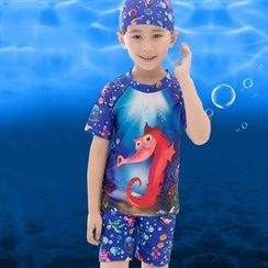 Aqua Wave - Kids Set: Printed Short Sleeve Rashguard + Swim Shorts + Swim Cap
