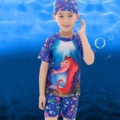 Aqua Wave - 兒童套裝: 印花短袖防曬衣 + 游泳短褲 + 泳帽
