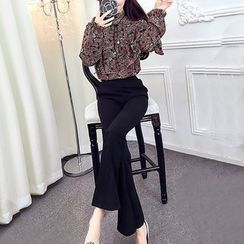 ZAPPA - Set: Printed Ruffle Blouse + Boot Cut Pants