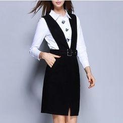 Rosesong - Set: Embellished Long-Sleeve Shirt + Belted Pinafore Dress