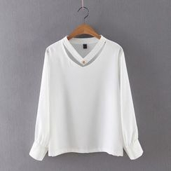Ainvyi - Cut Out Front Long Sleeve Chiffon Blouse