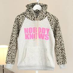 SO Central - Leopard Print Panel Lettering Hooded Pullover