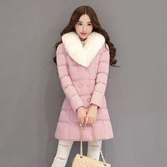 Romantica - Furry-Collar Double-Breasted Padded Coat