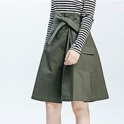 LUIMINE - Button A-Line Skirt