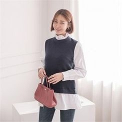 JOAMOM - Mock-Neck Color-Block Top