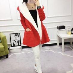 Emeline - Knit Panel Hooded Coat