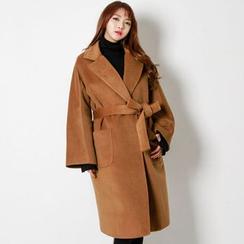 FASHION DIVA - Notched-Lapel Wrap Coat with Sash