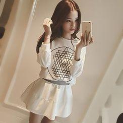 Rollis - Set: Print Pullover + A-Line Skirt