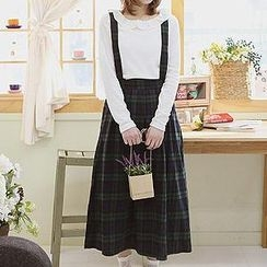 Sechuna - Suspender Plaid Long Skirt