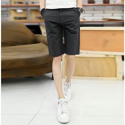Consto - 纯色直筒短裤