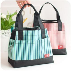 Momoi - Drawcord Striped Lunch Bag