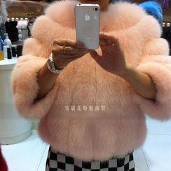 Fluff Snowy - 短款仿毛大衣