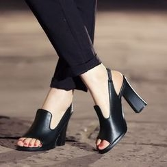 JY Shoes - Slingback Chunky Heel Sandals