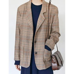 FROMBEGINNING - Check Wool Blend Single-Breasted Blazer