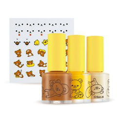 A'PIEU - Nail Color & Deco Sticker Kit (Rilakkuma Edition): Nail Polisher 3pcs + Sticker 1pc
