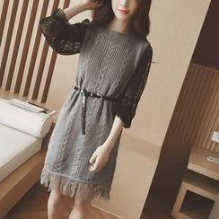 雅典娜 - 套裝:無袖針織連衣裙 + 蕾絲連衣裙