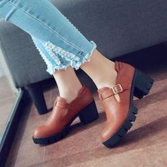 Parkwalker - Faux Leather T-Bar Chunky Heel Shoes