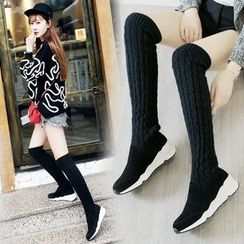 Pangmama - Knit Over-The-Knee Boots