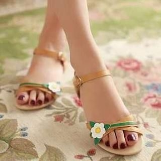 Pangmama - Genuine Leather Corsage Flat Sandals