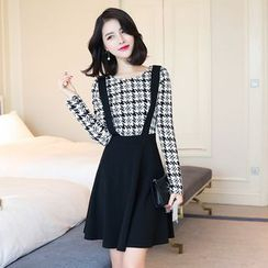 Emeline - Houndstooth Panel Mock Two-Piece Dress