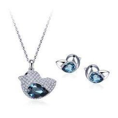伊泰莲娜 - 套装: 施华洛世奇元素水晶小鸡项链 + 耳钉
