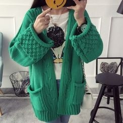 Qimi - Cable-Knit Thick Cardigan