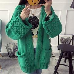 Qimi - 麻花针织厚开衫