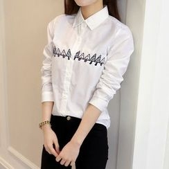 anzoveve - Embroidered Long-Sleeve Shirt