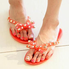 REDOPIN - Bow-Accent Studded Thong Sandals