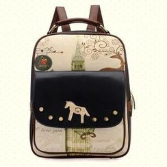 BeiBaoBao - Faux-Leather Horse-Lock Printed Backpack