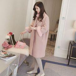 Ashlee - Furry Trim Long Woolen Jacket