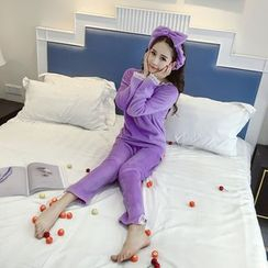 Honeydew - Pajama Set : Fleece Long-Sleeve Top + Pants + Bow Hair Band