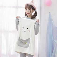 Moriville - Cartoon Embroidered Long Pullover