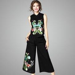歐依潮派 - 套裝:無袖刺繡上衣 + 寬腿褲