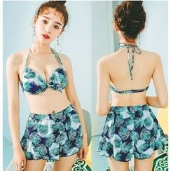 Jumei - Set: Leaf Print Bikini + Swim Shorts + Printed Cover-up