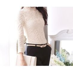 Zyote - Long-Sleeve Lace Panel Chiffon Top