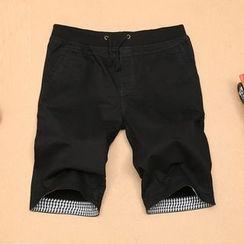 EAST Fox - Plaid Applique Drawstring Shorts