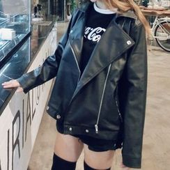 Dute - Faux Leather Biker Jacket