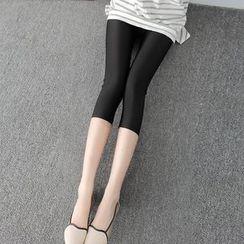 nooyi - Cropped Plain Leggings