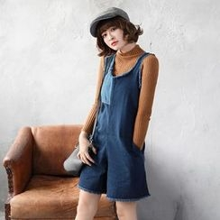 OrangeBear - Frayed-Trim Denim Playsuit