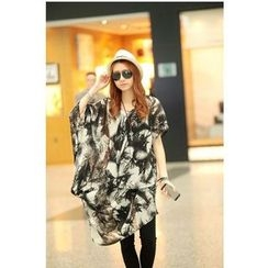 Dream Girl - Maternity Feather Print Asymmetrical Chiffon Dress
