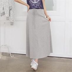 Styleberry - Drawstring-Waist Maxi Skirt