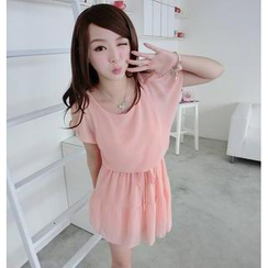 59 Seconds - Short-Sleeve Cutout-Shoulder Drawstring Dress