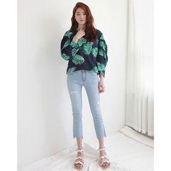 NIPONJJUYA - Round-Neck Long-Sleeve Foliage Print Pullover