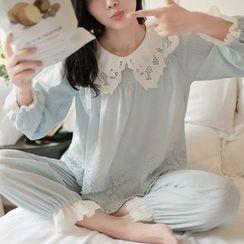 Snorie - 家居服套裝: 蕾絲拼接泡泡袖上衣 + 褲